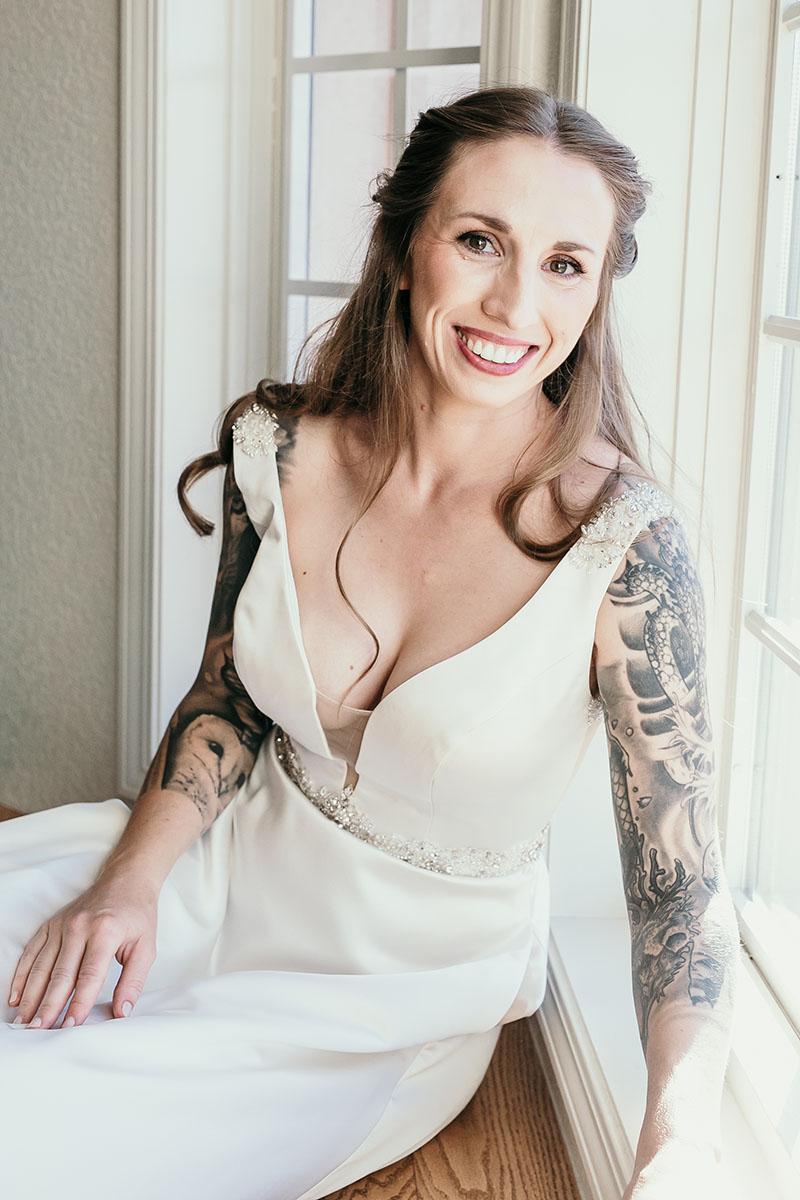 Bride's portrait in window light