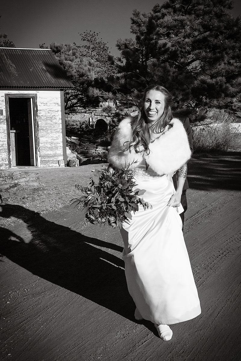 Bride walking at wedding