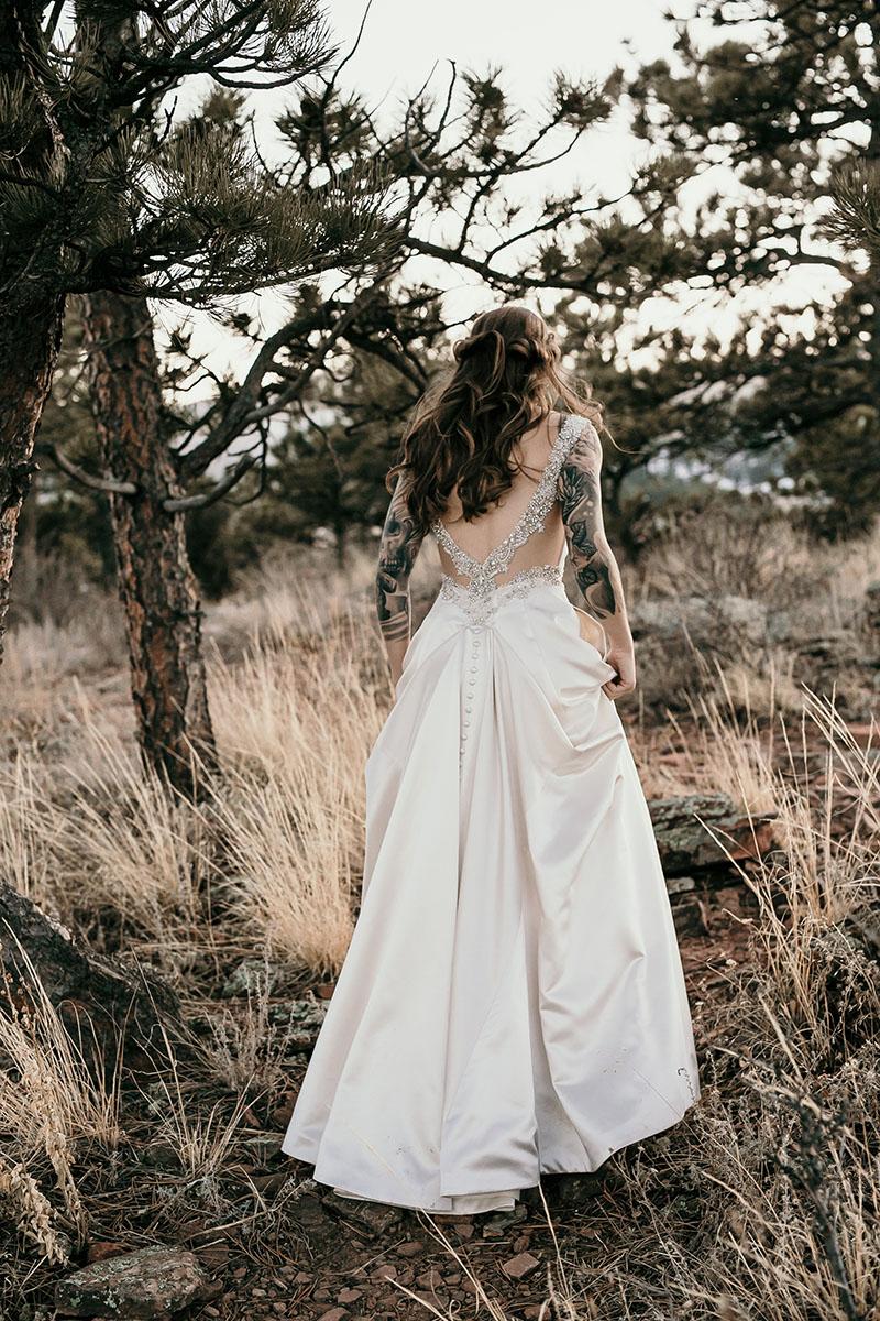 bride walking away at wedding