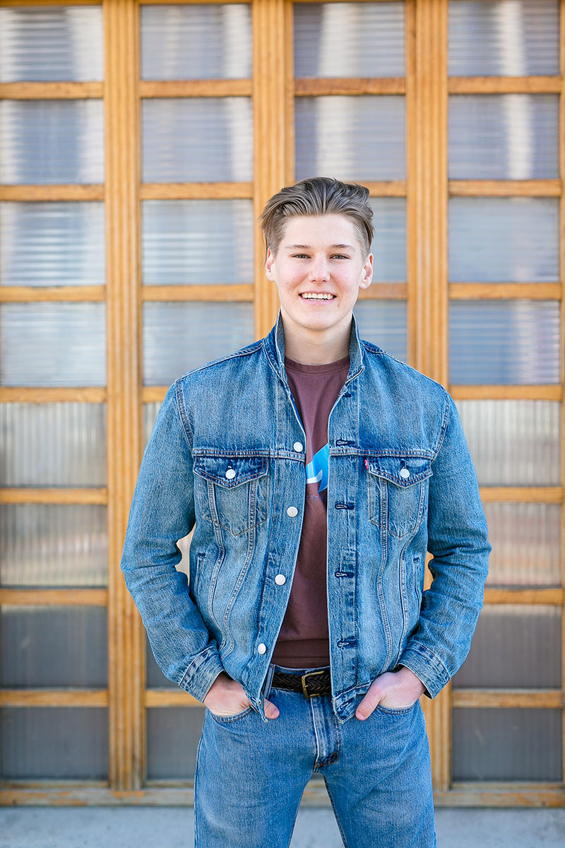 Fairview high school senior boy blue jeans and blue jean jacket denver co